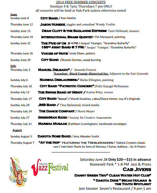 Arts in the Parks Schedule