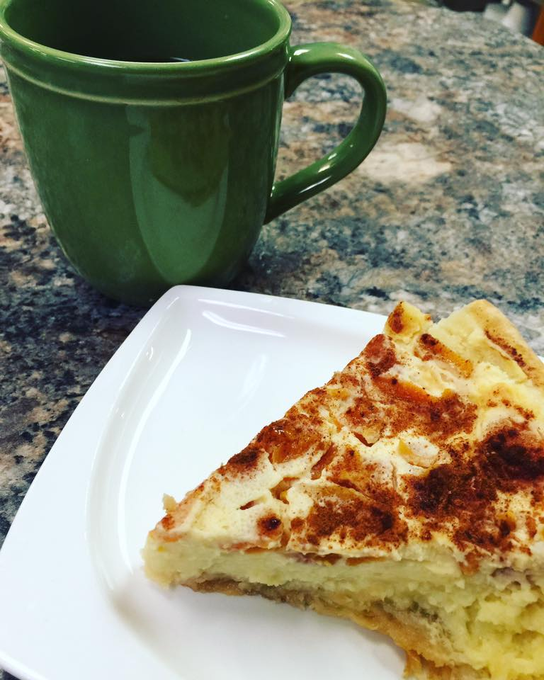 Charlie's apricot kuchen with a fresh cup of joe.