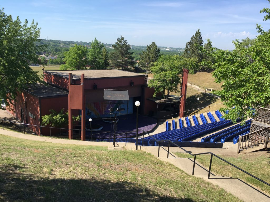 The outdoor theater boasts newly installed seating and a boasted sound system.