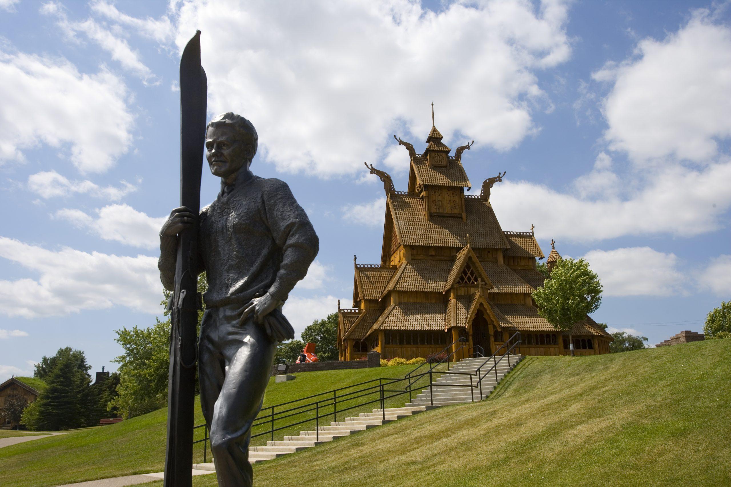 Scandinavian Heritage Park Gol Stav Church and Statue
