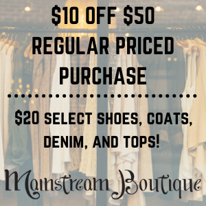 deal, minot deal, Mainstream Boutique, Downtown, Downtown Minot, Sale, Shopping, Local,